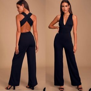 Lulu's Thinking Out Loud Black Backless Jumpsuit